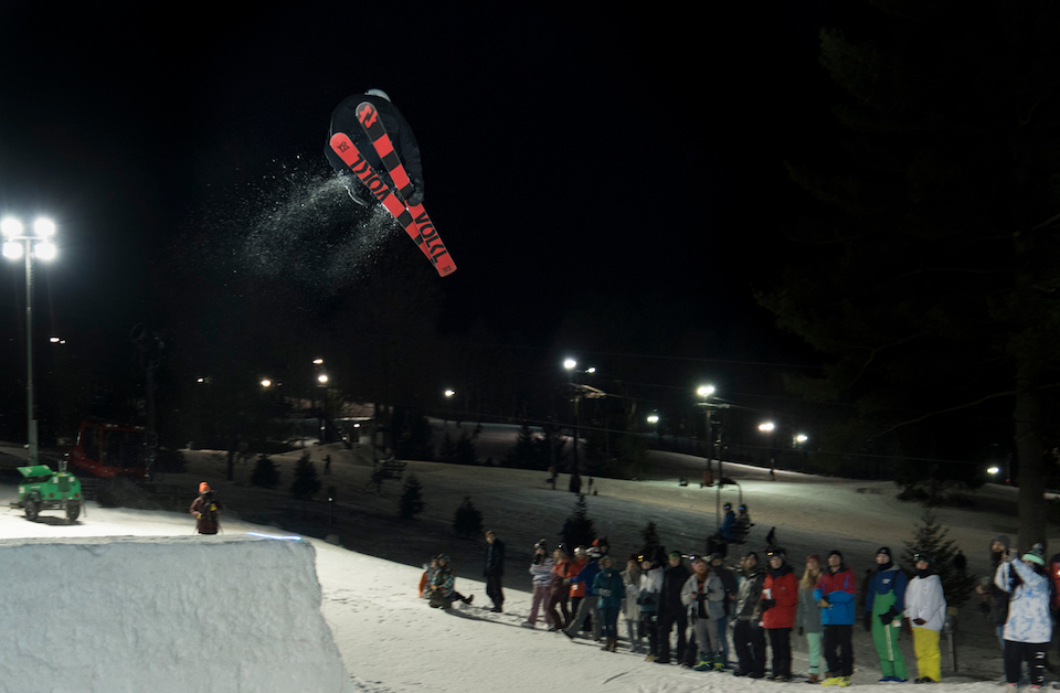Big Air Competition Skier at Snow Trails in Mansfield Ohio
