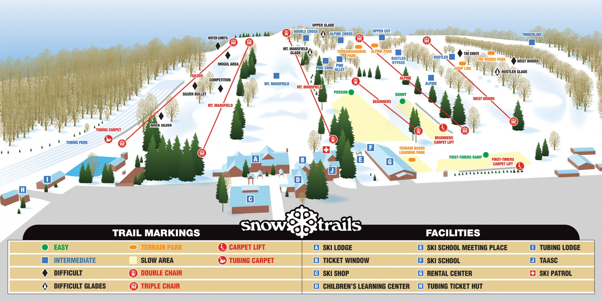 Snow Trails Map 2019-20
