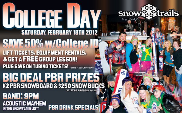 Save 50% with College ID at Snow Trails
