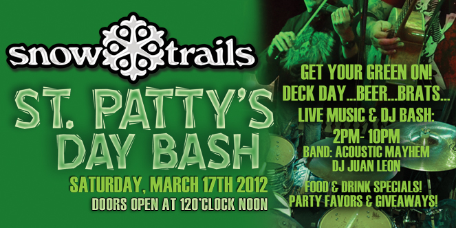 St. Patty's Day Bash at Snow Trails- Beer. Brats. Band.