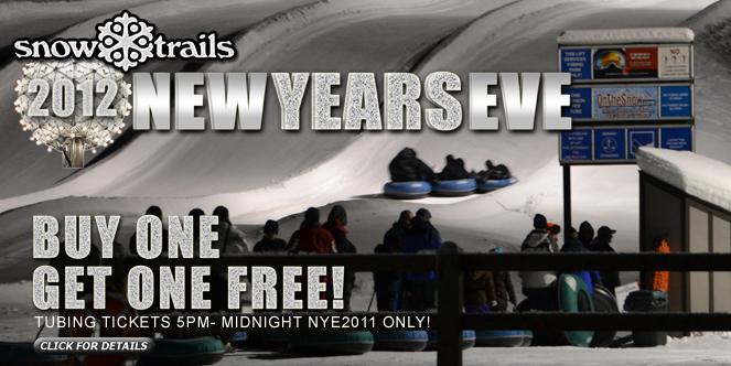 Buy One Get One Tubing Ticket Special, New Year's Eve at Snow Trails