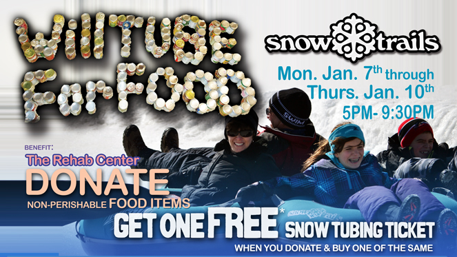 Will Tube For Food at Snow Trails Vertical Descent Tubing Park