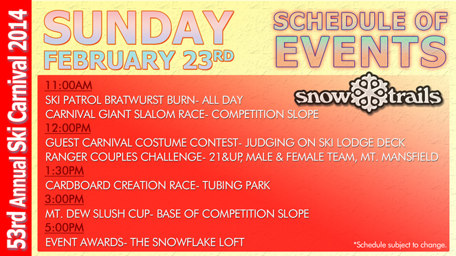 53rd Annual Winter Ski Carnival at Snow Trails- Sunday Schedule of Events