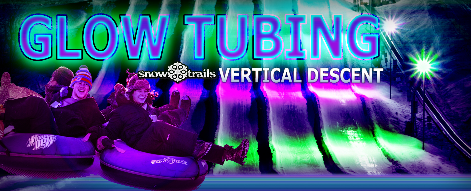 Glow Tubing at Vertical Descent Tubing Park at Snow Trails
