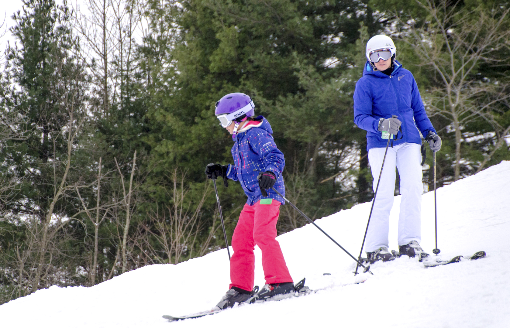Mother and Daughter Skiing Snow Trails Slopes #SnowTrailsOH