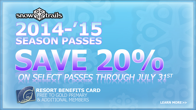 Save 20% on 2014-2015 Snow Trails Season Passes if purchased by July 31st