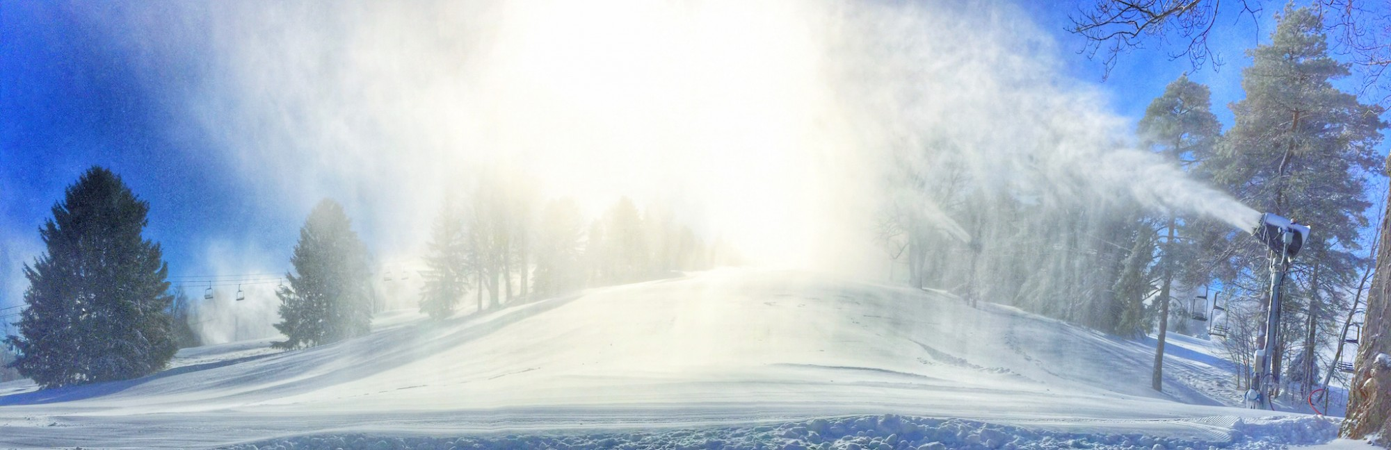 Snowmaking at Snow Trails Resort in Mansfield, Ohio