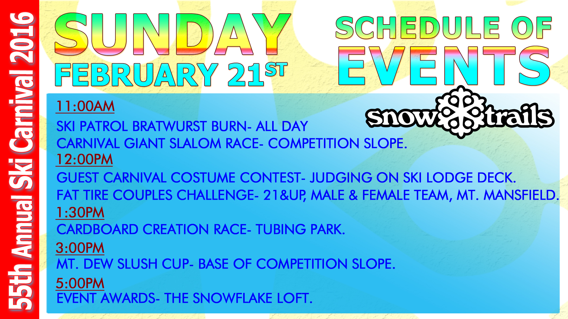 55th Carnival Sunday, February 21st Schedule of Events