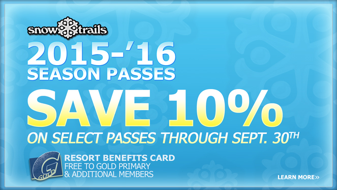Save 10% on Select Snow Trails Season Passes through September 30th