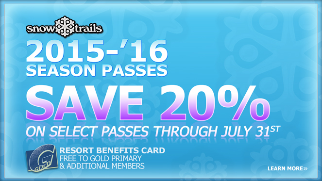 Save 20% on Select Snow Trails Season Passes through July 31st