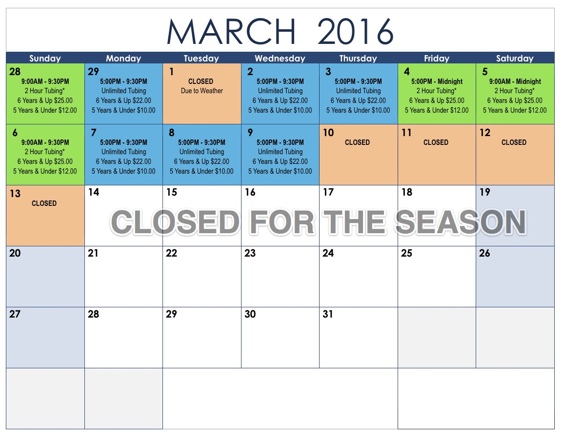 Tubing Schedule March 2016