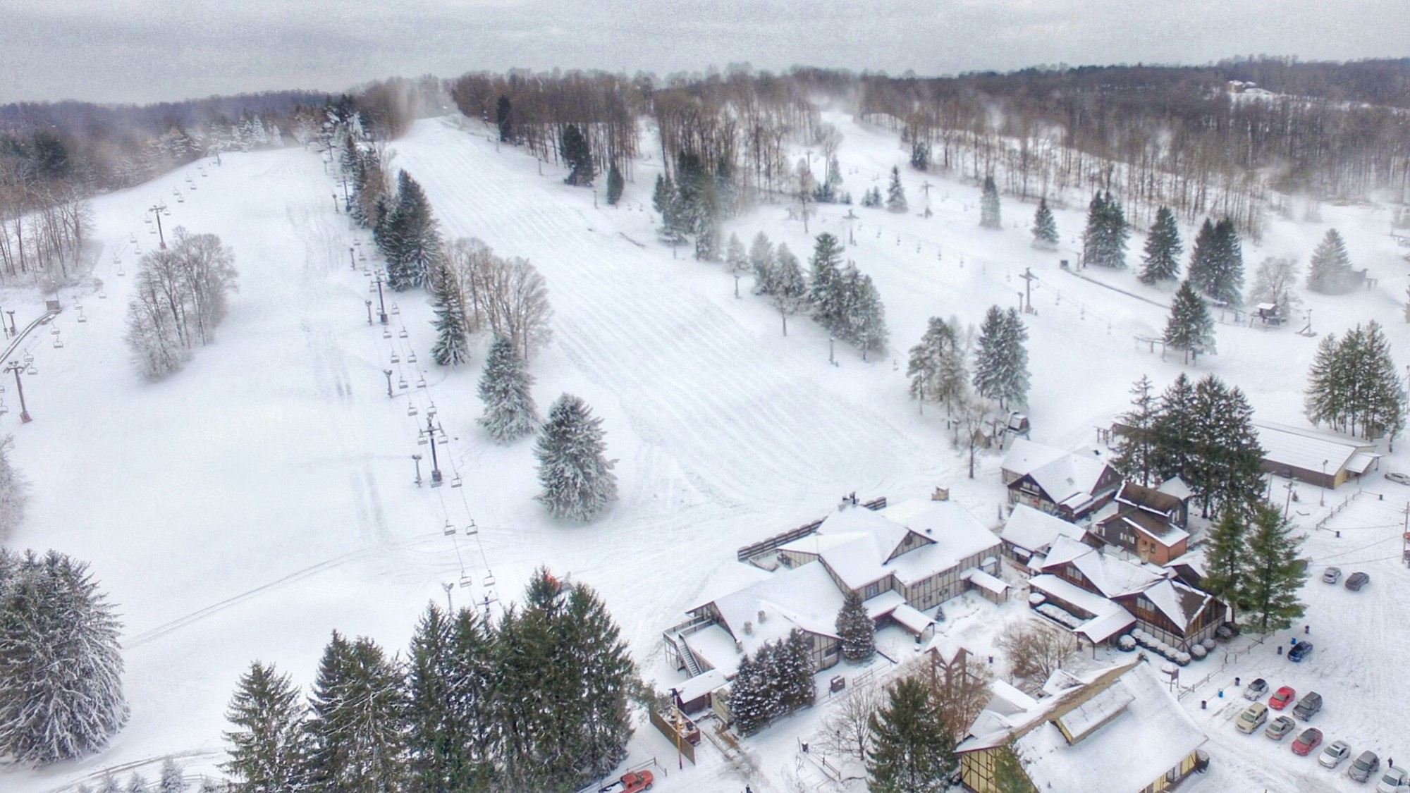 Snow Trails Resort aerial photo during Snowmaking