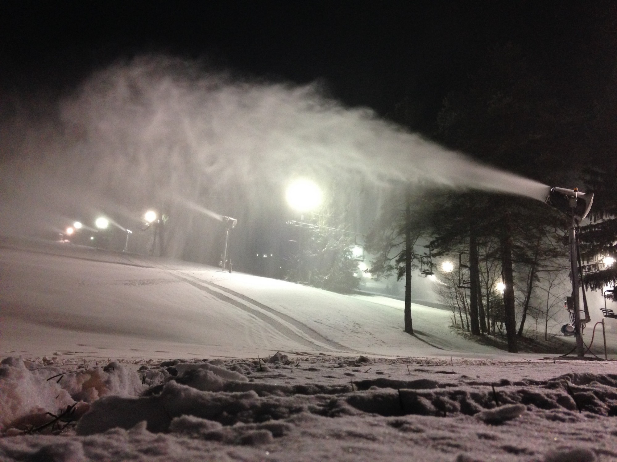 Nighttime Snowmaking at Snow Trails in Mansfield, Ohio