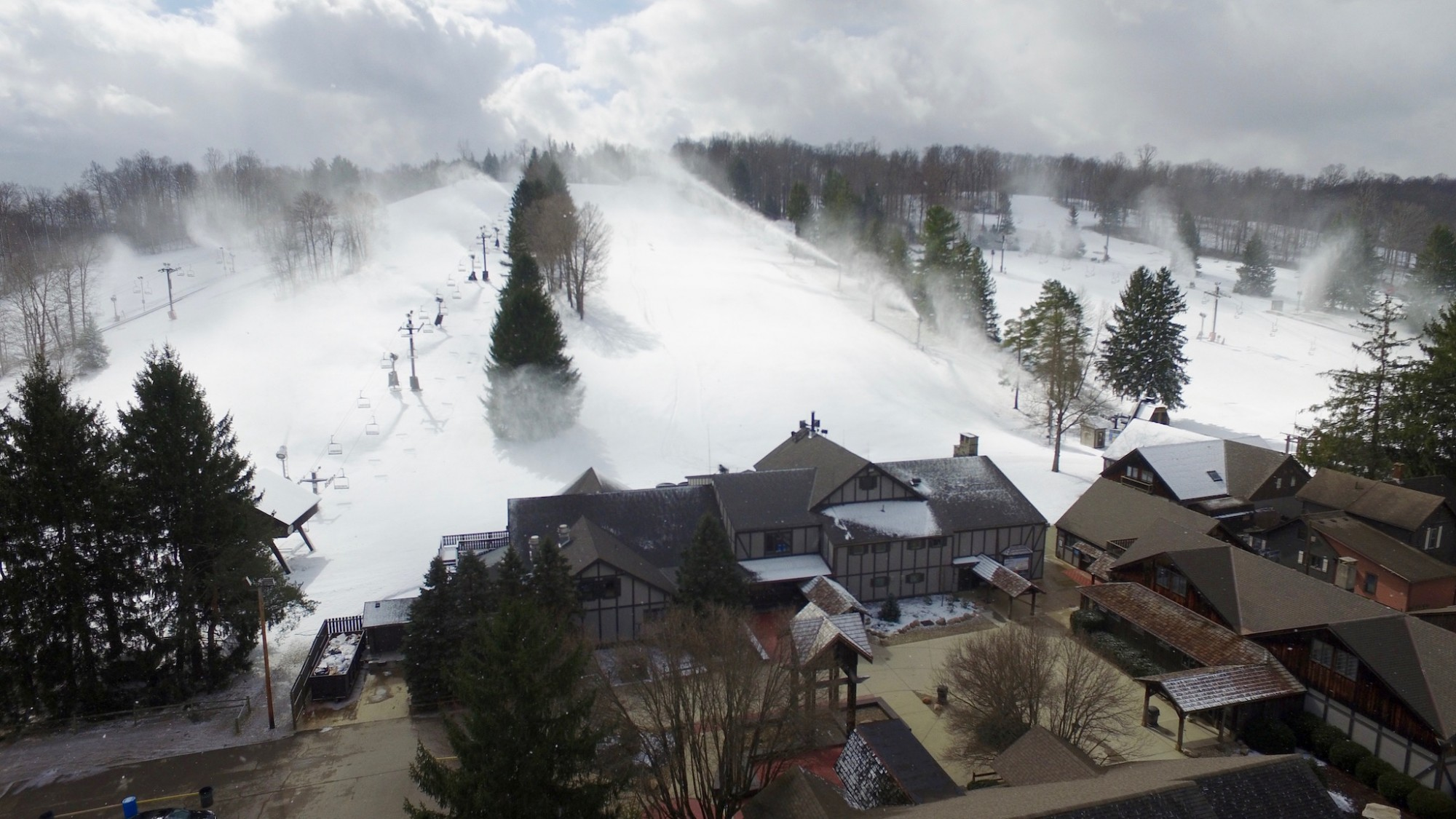 Snowmaking at Snow Trails in Mansfield, Ohio