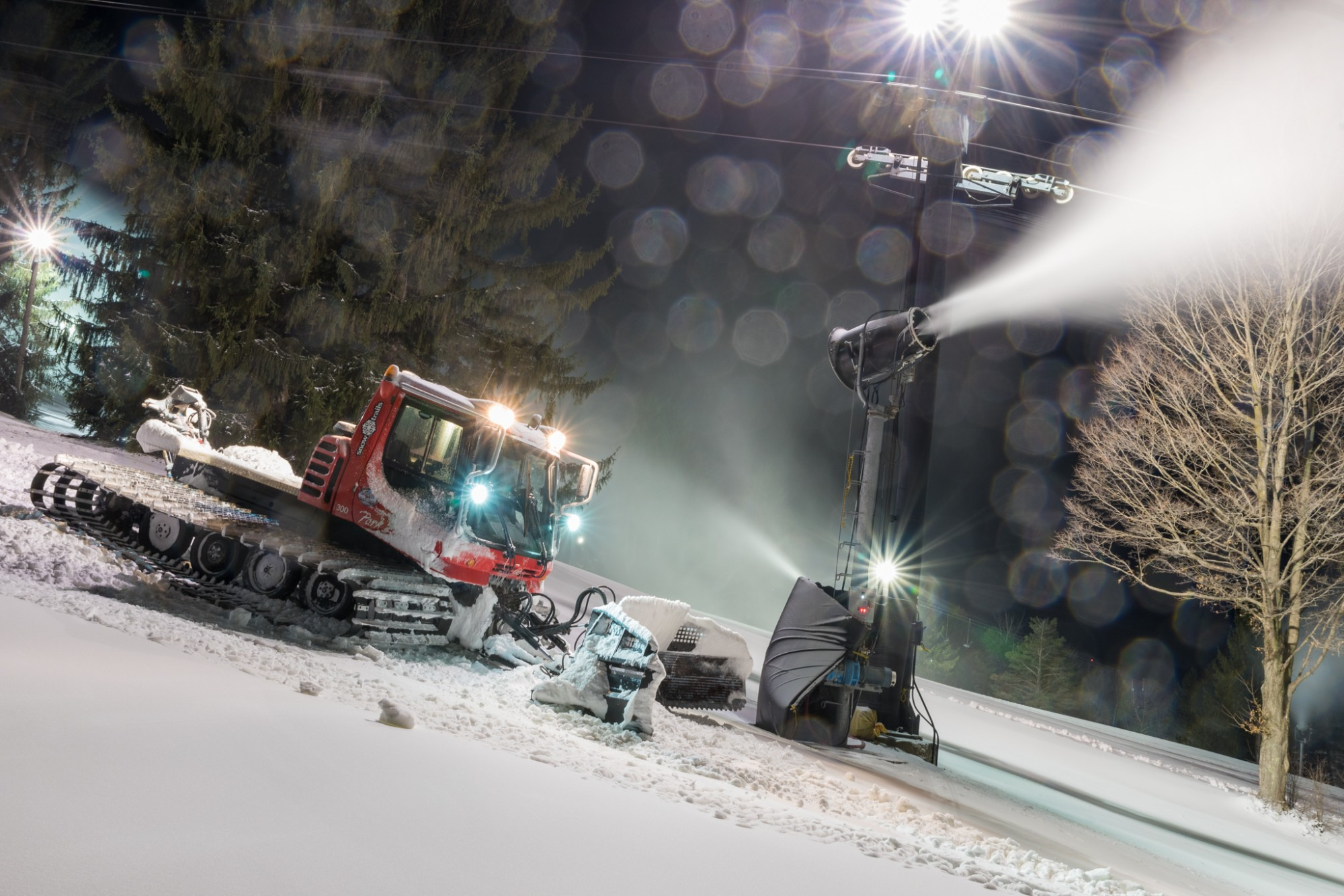 Snowmaking Continues in March, Never Before in Snow Trails History