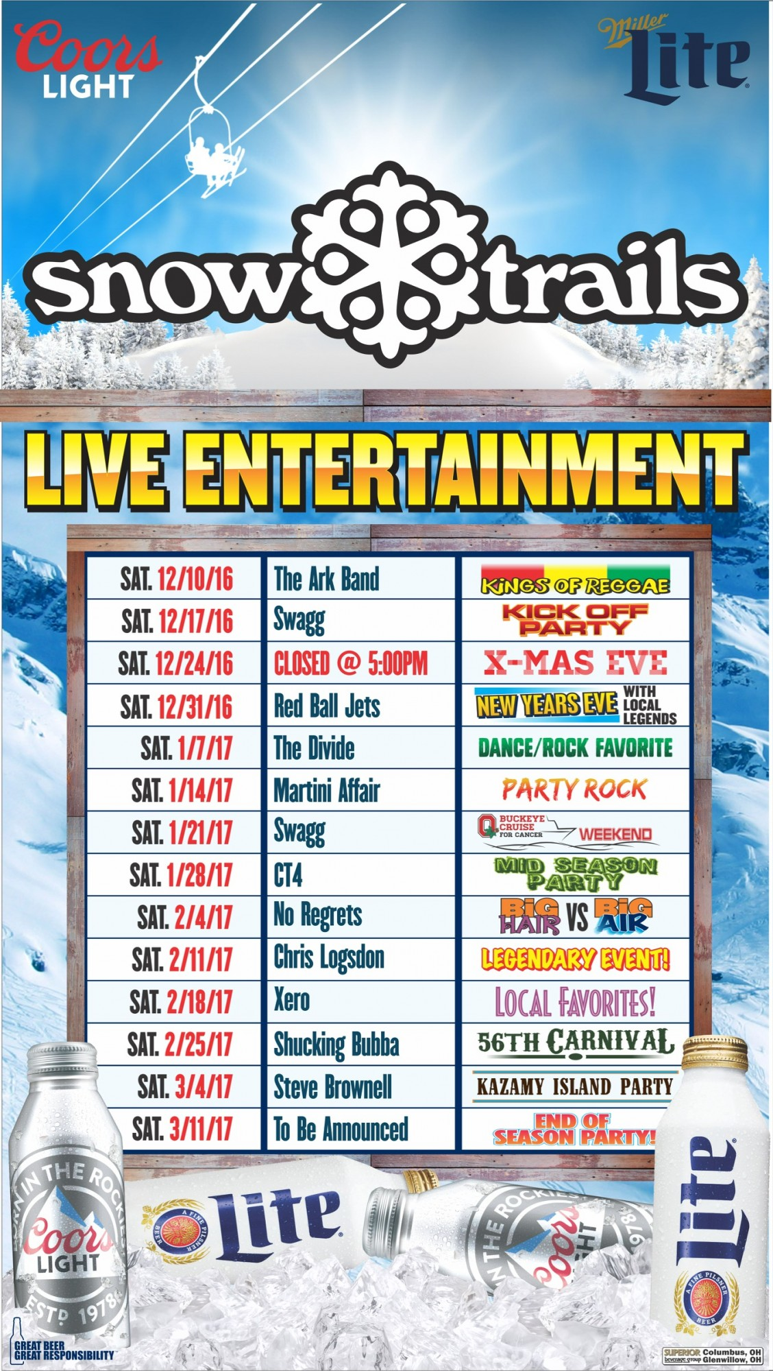 Snow Trails Live Entertainment Schedule 2016-'17