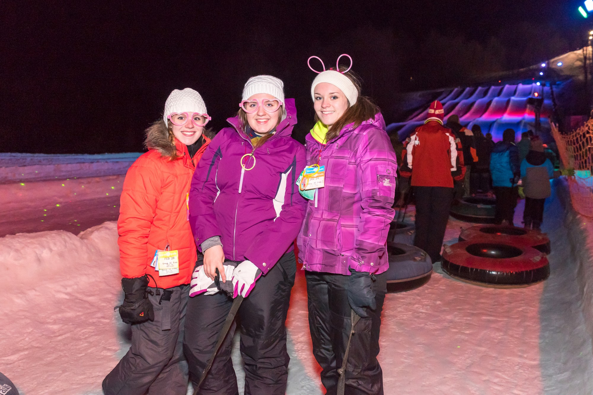 Late Night Glow Tubing with Friends at Snow Trails Vertical Descent Tubing Park