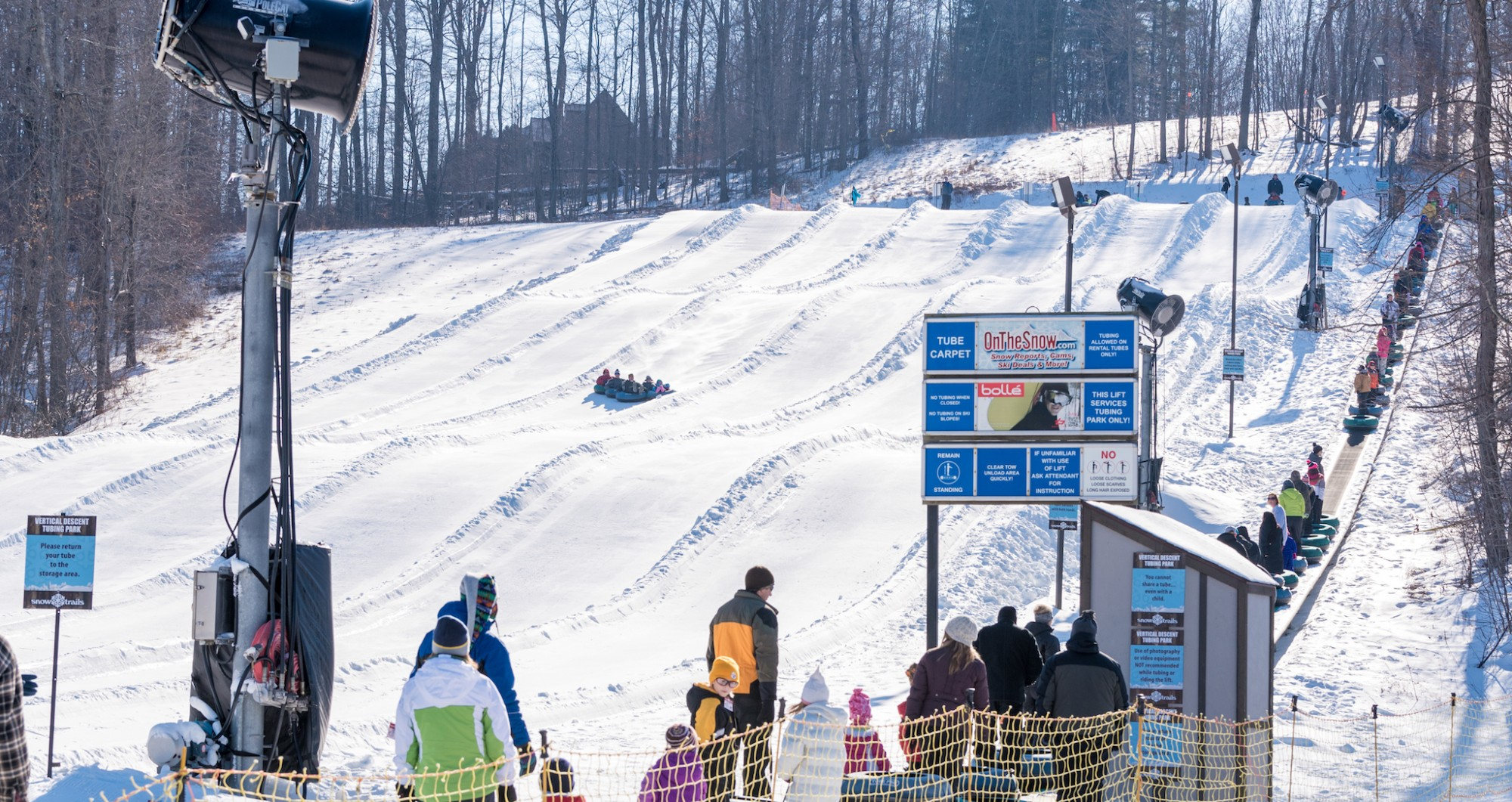 Snow Trails Vertical Descent Tubing Park lanes and conveyor carpet lift