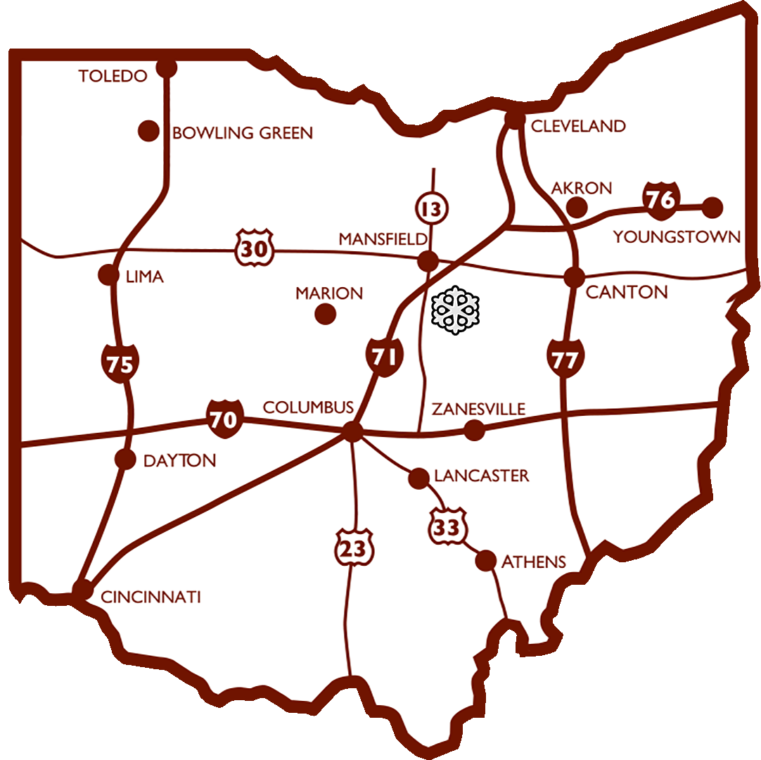 Snow Trails is located under 2 miles from I-71, North of Columbus, and South of Cleveland