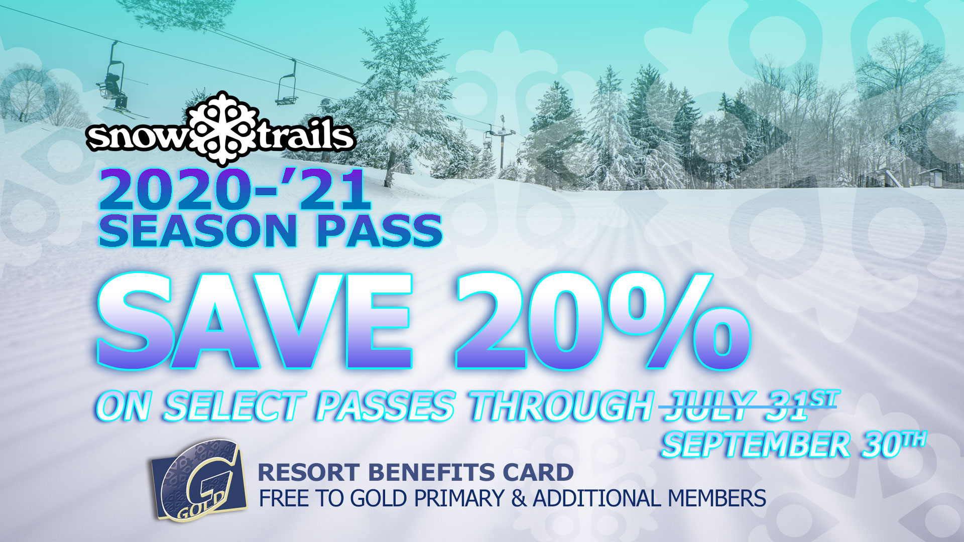 Save 20% on select Snow Trails Season Passes through September 30th